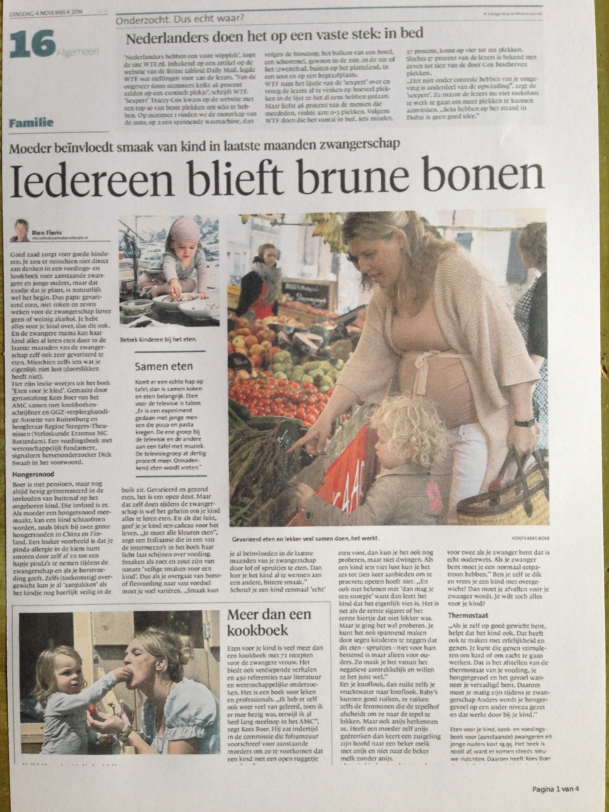 Artiikel over Eten voor je Kind in het Noord Hollands Dagblad 04-11-2013